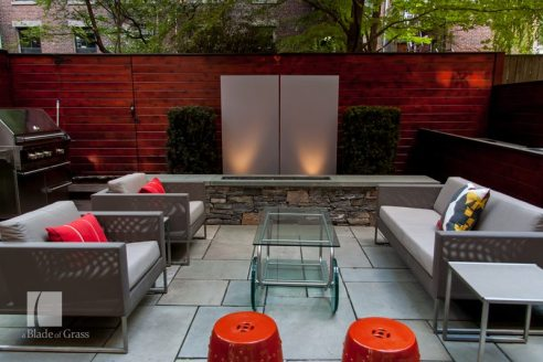 a Blade of Grass Boston South End Garden Sitting Area with Light Feature