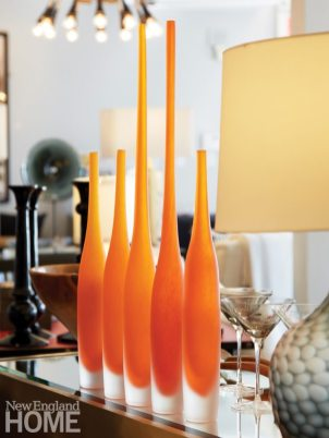 Sconset Square White BIrch Studio Orange Vase