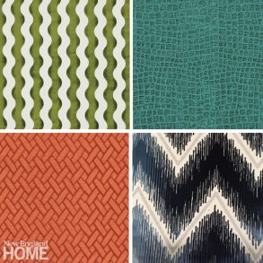 Rich velvets are increasingly hot right now, including (top, left to right) Shock Wave and The Wave by Schumacher, and (bottom, left to right) Finnian and Kara by Kravet.