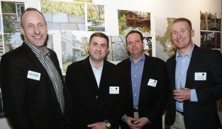 New England Home's Kyle Hoepner, Bryan and Todd Skulsky of Perfection Fence, and Mike Coffin of Michael S. Coffin Landscape Construction