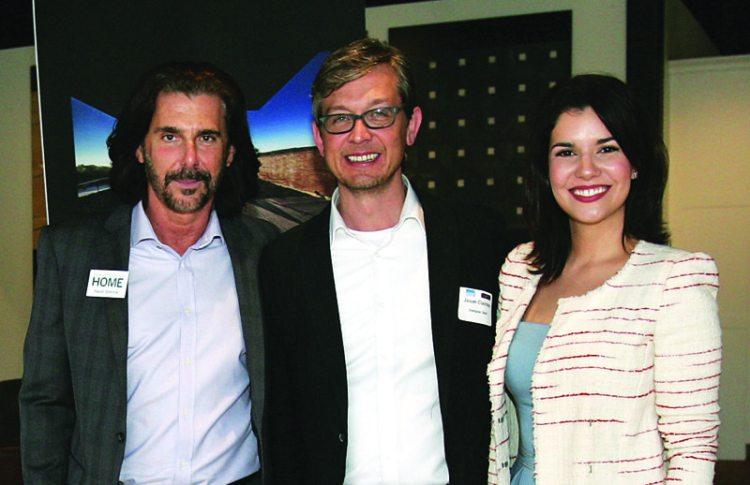 New England Home's David Simone, Jason Clairday of Designer Bath, and guest speaker Suzana Azevedo of Nejaim Azevedo