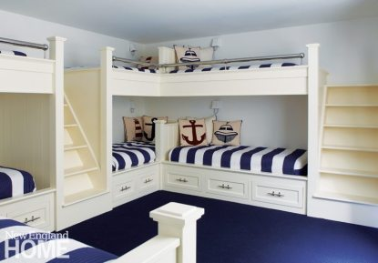 Blue and White Bunk Room