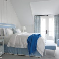 Bedroom Chair With Skirt Bean Bag Chairs For Adults Target Galleries New England Home Magazine In The Master A Tailored Approach Lends Structure To Powder Blue Easy Custom Headboard And Bed French Doors Swing Open