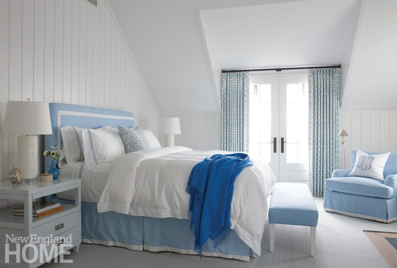 bedroom chair with skirt herman miller chairs costco galleries new england home magazine in the master a tailored approach lends structure to powder blue easy custom headboard and bed french doors swing open for