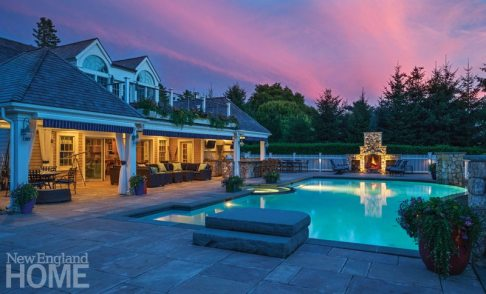 Outdoor Entertaining Space Pool at Night