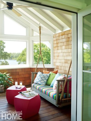 Rhode Island Shingle Style Porch with hanging day bed