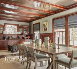 Dining room designed by Nina Farmer with Roman shades
