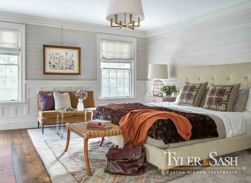 Master bedroom with relaxed Roman shades and grasscloth wall covering