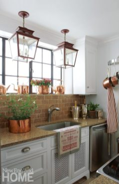 Darien Stone Cottage Kitchen with brick backsplash