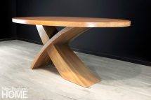 Faced with a tight deadline, Old Mill Road Table Company's Tom Dwyer designed and built the oak Sweep table for a client in Aspen, Colorado, in a week.