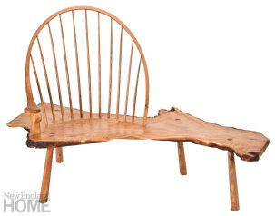 The more traditionally figured Wadsworth Maple Windsor Bench is named for the turn-of-the-century Middletown estate from which its wood was harvested.
