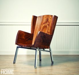 Brothers Ted and Zeb Esselstyn created their own version of a wingback chair in walnut for a Westport client.