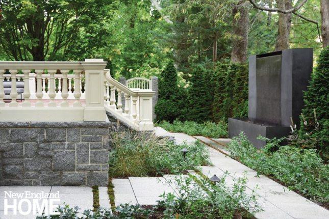 Contemporary Boston urban garden granite steps