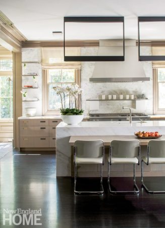 Contemporary Boston town home neutral kitchen
