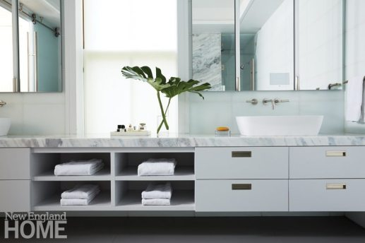 Contemporary master bathroom with double vanity