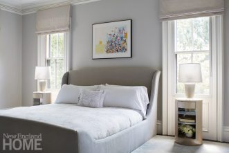 Contemporary Boston town home neutral master bedroom