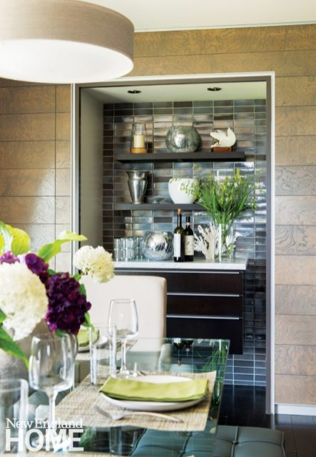 With its granite counter and glossy backsplash, the buffet strikes a posh note.