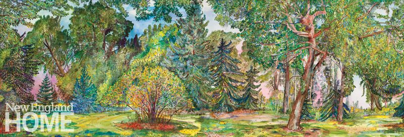 """August Trees (2015), diptych, watercolor on paper mounted on board, 40""""H × 119""""W."""