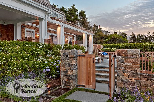Wood and stone fence