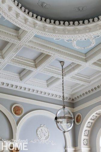 Historic Boston home plaster ceiling detail