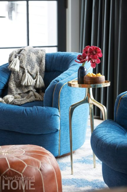 Blue velvet swivel chairs