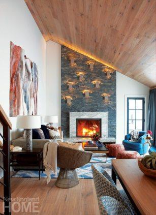 Cleft slate fireplace