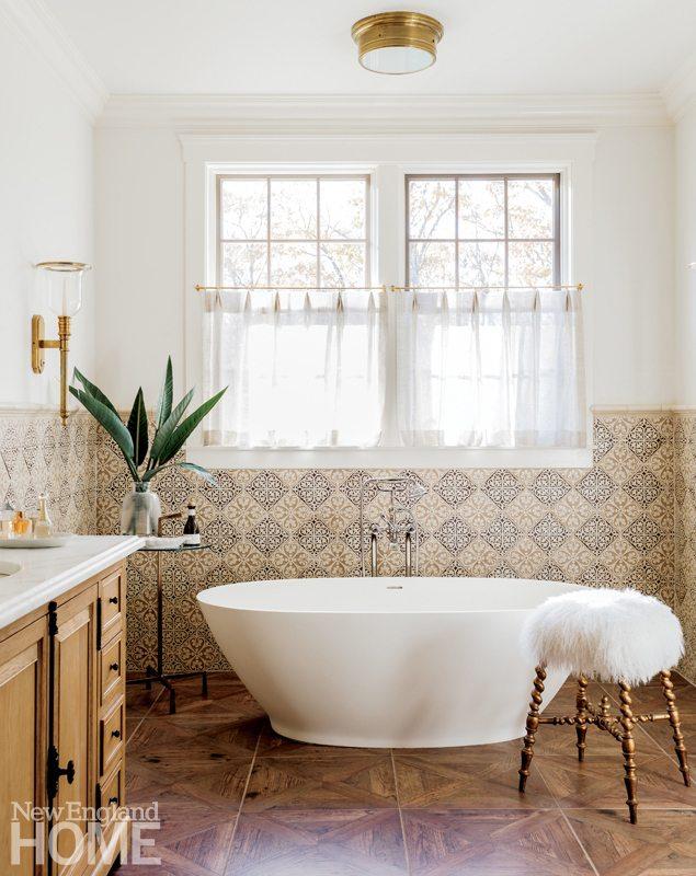 freestanding bathtub with Italian tile