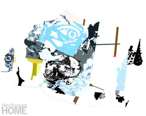"Untitled (2017), collaged inkjet prints on cradled panel, 16""H × 20""W × 1½""D"