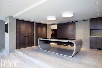 Contemporary play room with custom billiard table