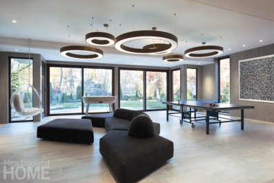 Contemporary play room with billiard table