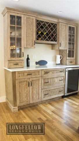 Rustic wood cabinetry has a distinctively beachy feel.