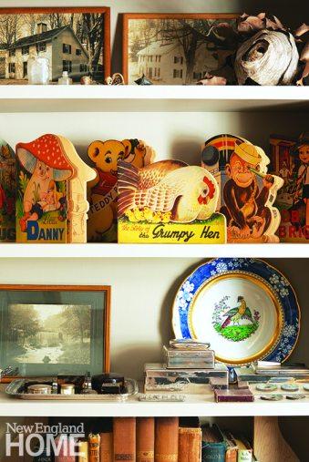 Bookshelf with vintage finds