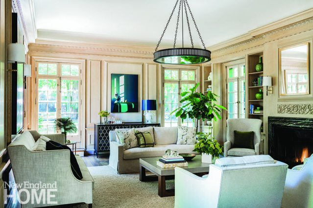 Living room Brookline home designed by Paula Daher