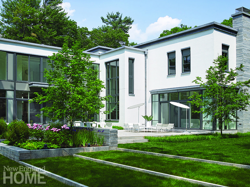 Rear exterior contemporary home