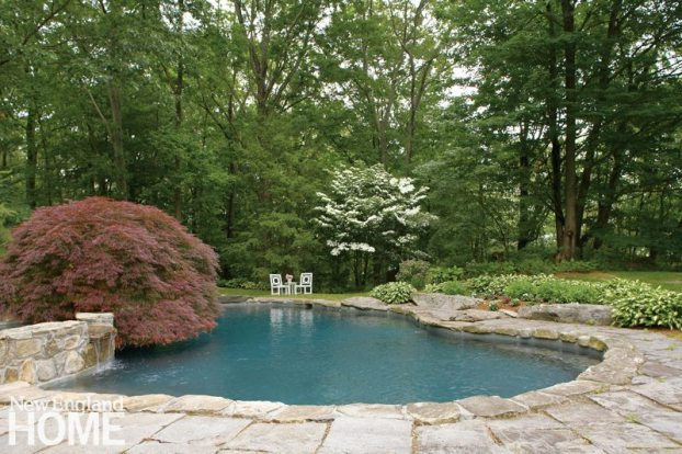 Stone lined swimming pool