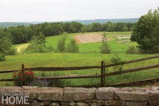 View of Berkshire Mountains and organic garden