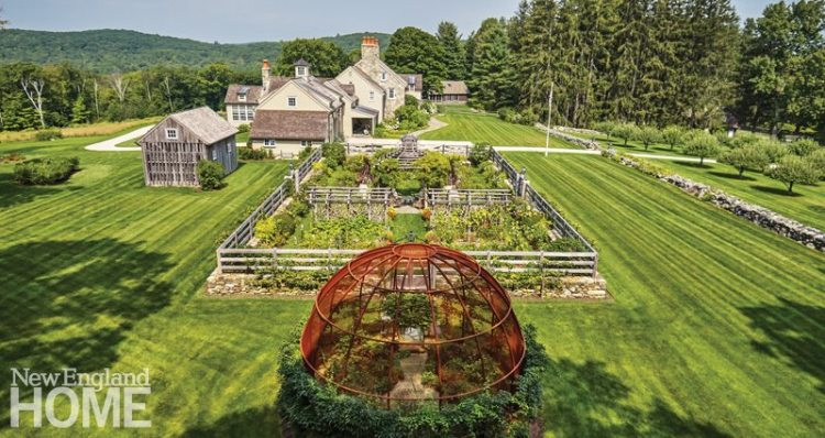 The farm's handsome masonry—executed by Steve Saharek—helps merge the garden with the stone farmhouse while fostering an old-time look. A visual treat, the metal dome protecting the blueberry crop keeps the birds out.