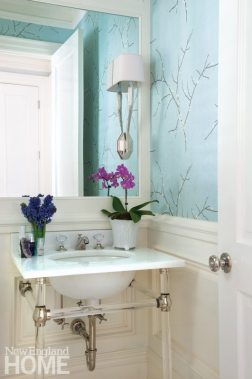 Powder room with Gracie wallpaper