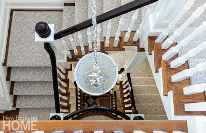 View of the staircase with Stark stair runner