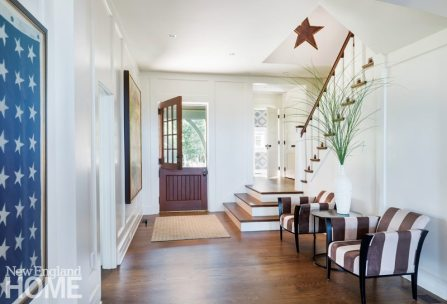 A charming Dutch door enhances the airiness of the front hall, while new oak floors throughout withstand kids and dogs.