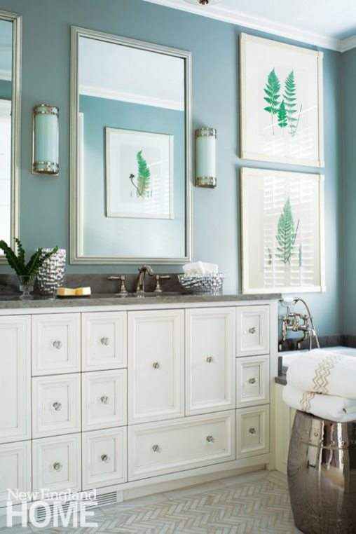The master bath's vanity was modeled after an apothecary chest.