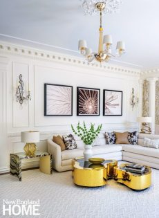 A white living room designed by Starr Daniels