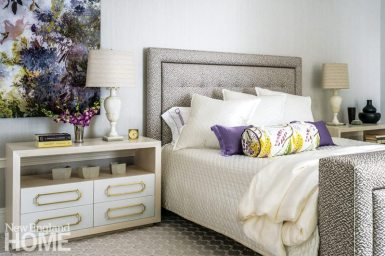 Neutral master bedroom with fuscia and citron