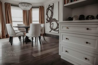 "European rustic white oak floors pre-finished in ""Coskata"" are an elegant and durable flooring choice."