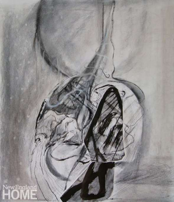 """Untitled (2017), charcoal and pastel on paper, 17""""H × 14""""W."""