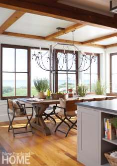 Dining space on Martha's Vineyard with a trestle table