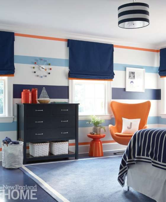 Boys bedroom with horizontal striped walls