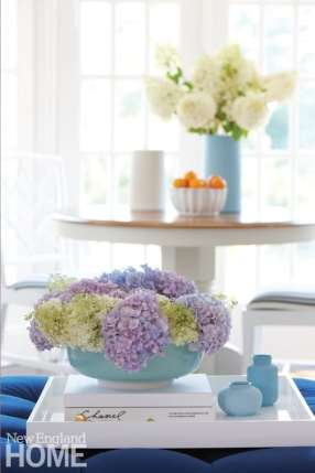 Hydrangeas in a light blue vase