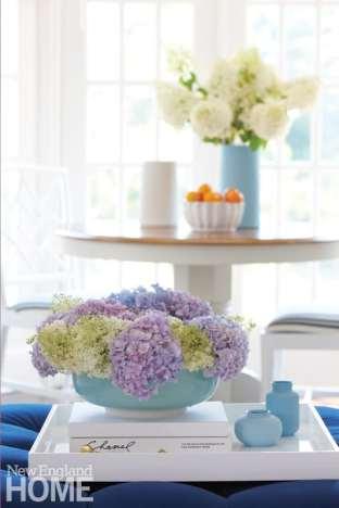 Hydrangeas in a light blue vase