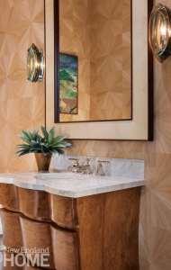 Powder room with mahogany vanity